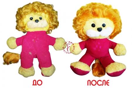 Реставрация любимой мягкой игрушки льва.