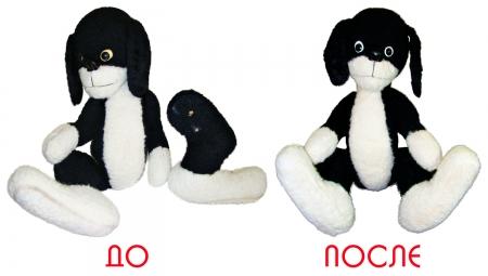 Реставрация черной плюшевой собачки.
