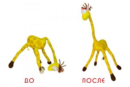 Реставрация и ремонт плюшевого жирафа.