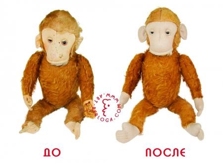 Реставрация и ремонт плюшевой обезьянки.