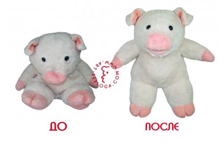 Реставрация плюшевой свинки
