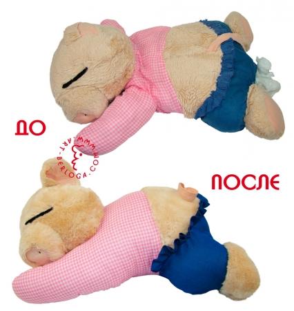 Реставрация мягкой игрушки свинки