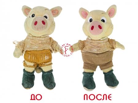 Реставрация маленькой плюшевой свинки
