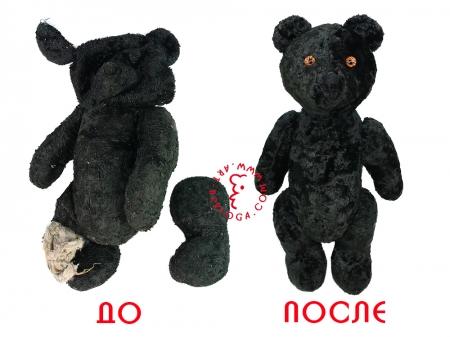 Реставрация черного винтажного мишки