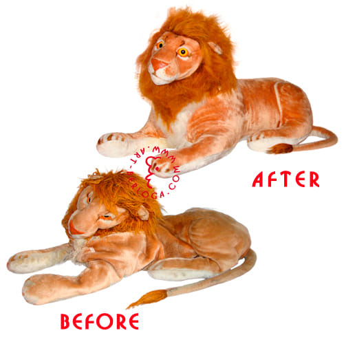 Реставрация огромного плюшевого льва