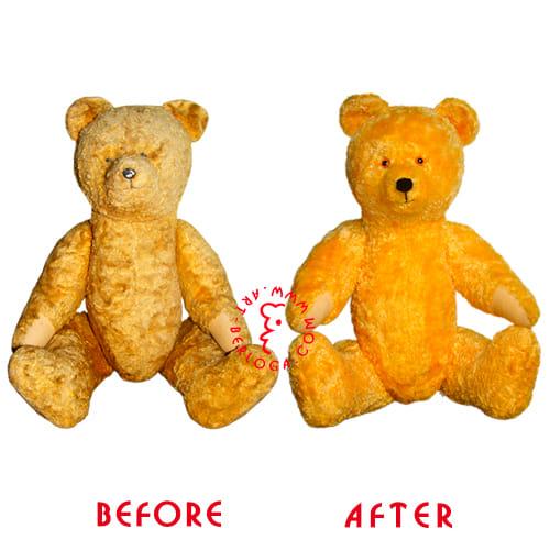 Реставрация желтой мягкой игрушки