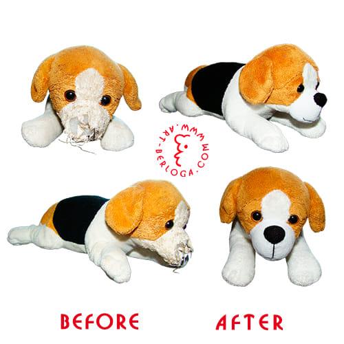 Реставрация игрушки плюшевой собачки