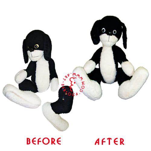 Реставрация черной плюшевой собачки