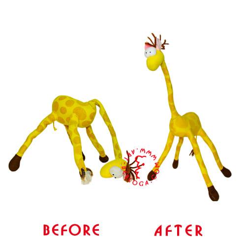 Реставрация мягкой игрушки жирафа