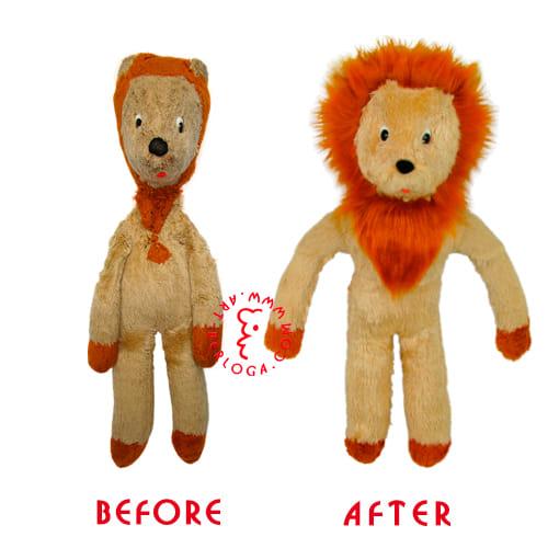 Ремонт винтажной игрушки львенка