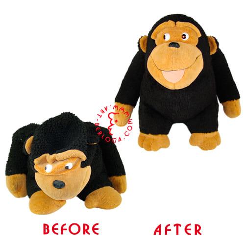Ремонт чистка плюшевой обезьянки